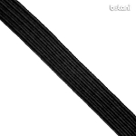 Flat Elastic : Black 7mm (9/32