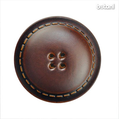 Leather Button 4 Holes BMJ25 MD. Brown
